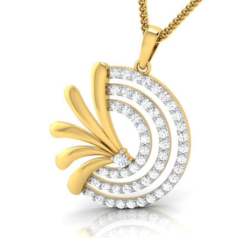 diamond studded gold jewellery - Sandrea Fashion Pendant - Pristine Fire - 1