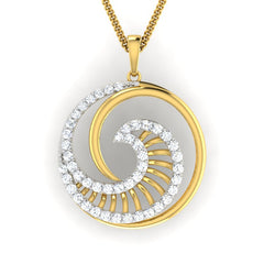 diamond studded gold jewellery - Damzel Fashion Pendant - Pristine Fire - 2