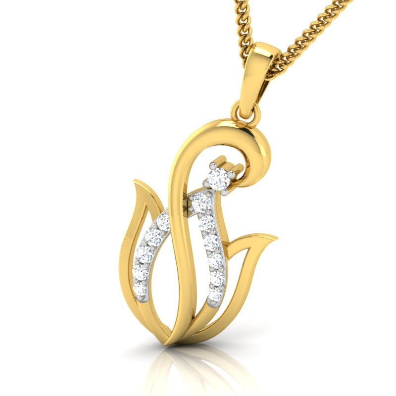 diamond studded gold jewellery - Ivria Casual Pendant - Pristine Fire - 1