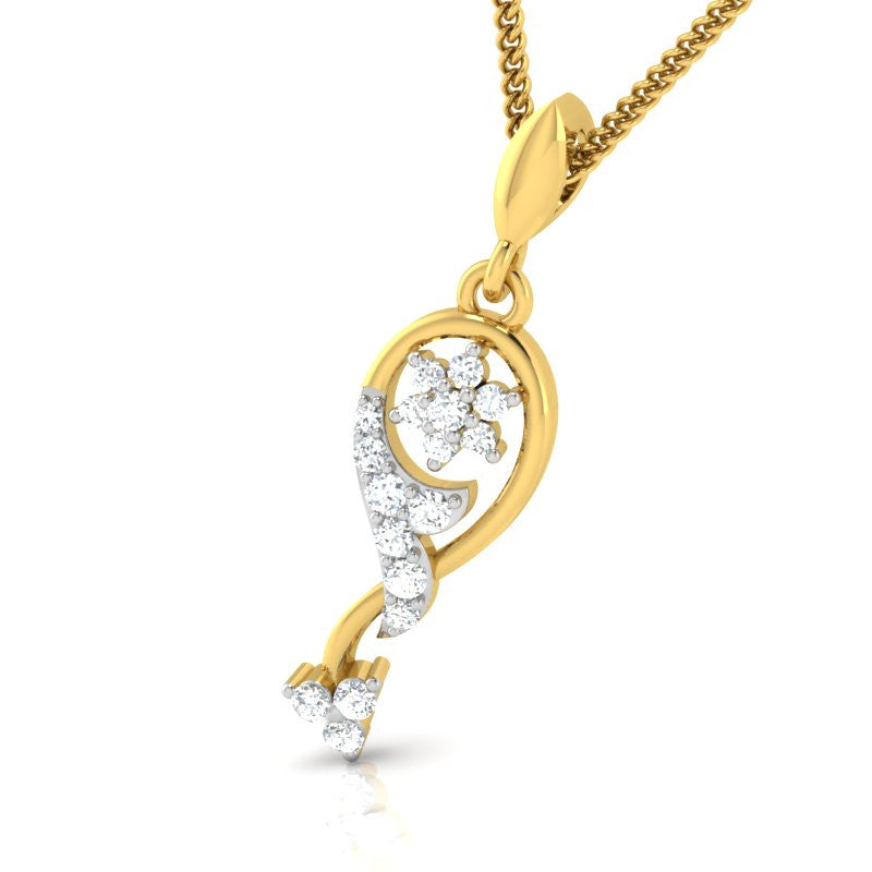 diamond studded gold jewellery - Cesarina Casual Pendant - Pristine Fire - 1