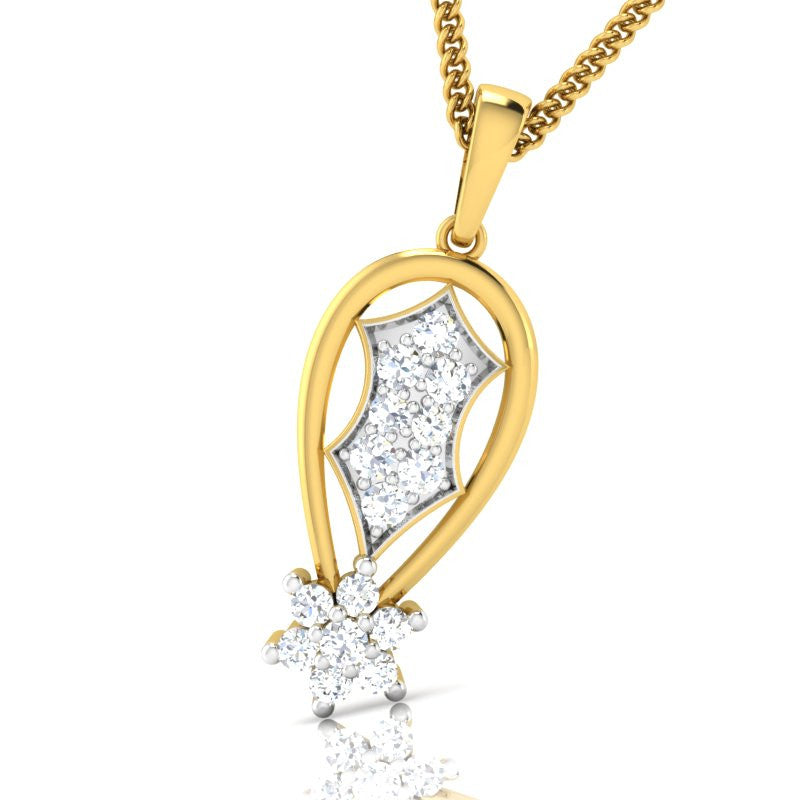 diamond studded gold jewellery - Purity Casual Pendant - Pristine Fire - 1