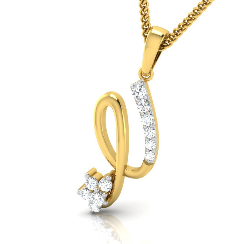 diamond studded gold jewellery - Haidee Casual Pendant - Pristine Fire - 1