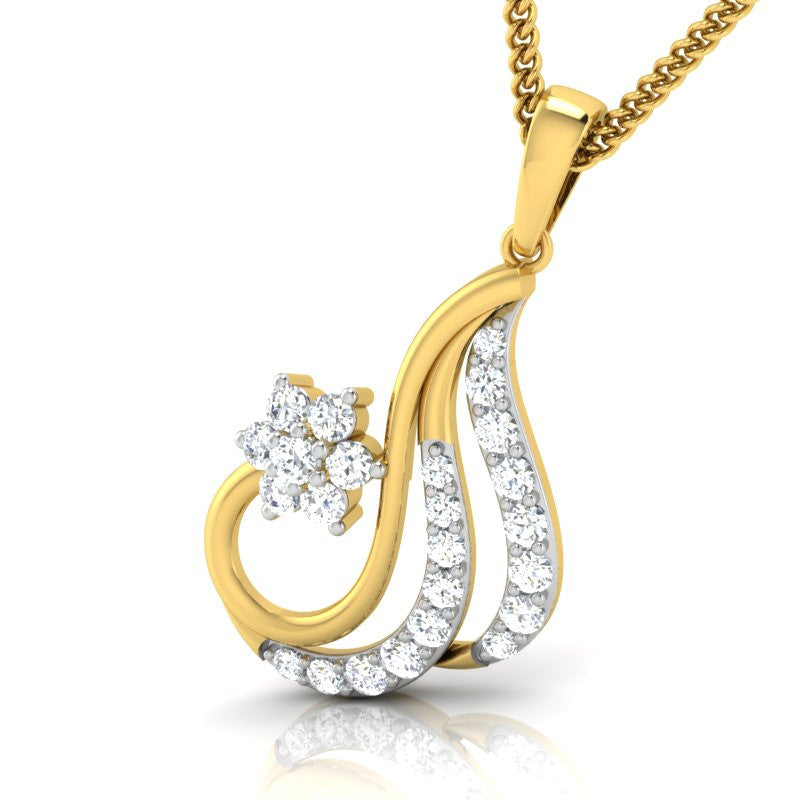 diamond studded gold jewellery - Sakina Casual Pendant - Pristine Fire - 1