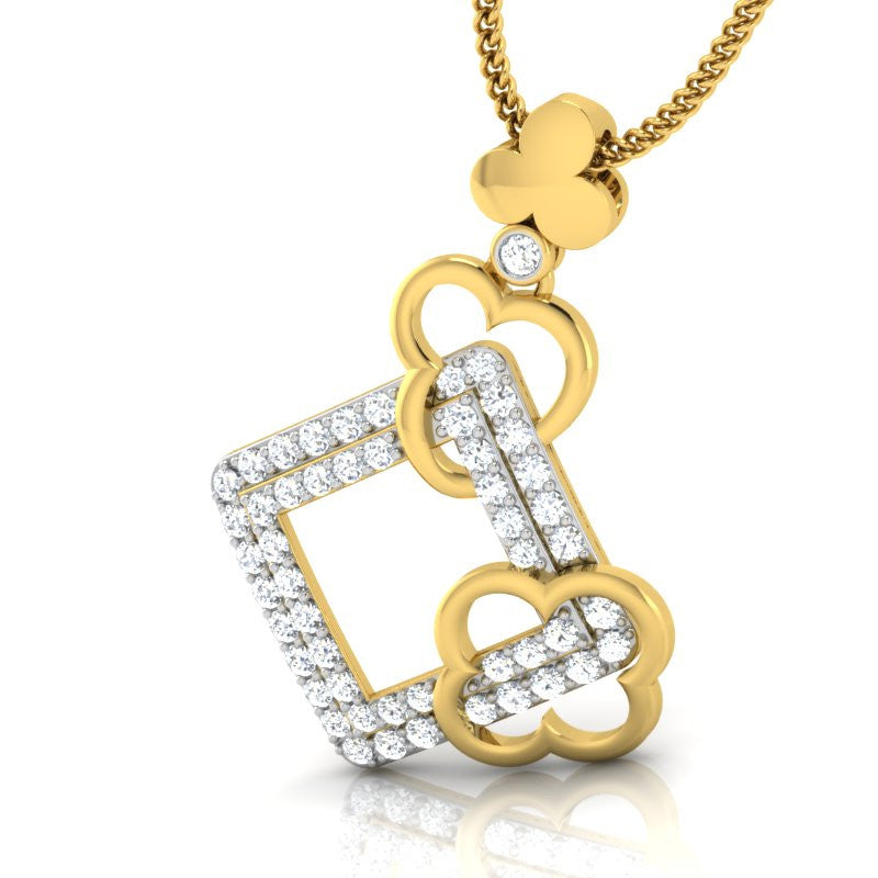 diamond studded gold jewellery - Siera Fashion Pendant - Pristine Fire - 1