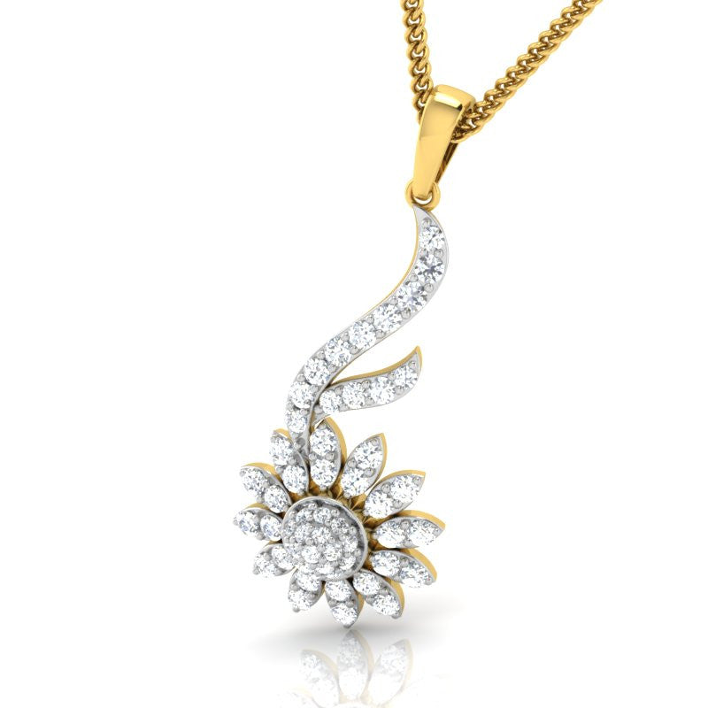 diamond studded gold jewellery - Kasandra Casual Pendant - Pristine Fire - 1