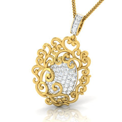 diamond studded gold jewellery - Shaleah Fashion Pendant - Pristine Fire - 1