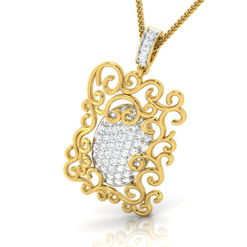 diamond studded gold jewellery - Hermia Fashion Pendant - Pristine Fire - 1