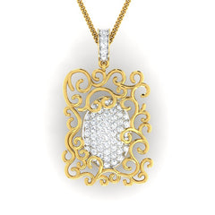 diamond studded gold jewellery - Hermia Fashion Pendant - Pristine Fire - 2