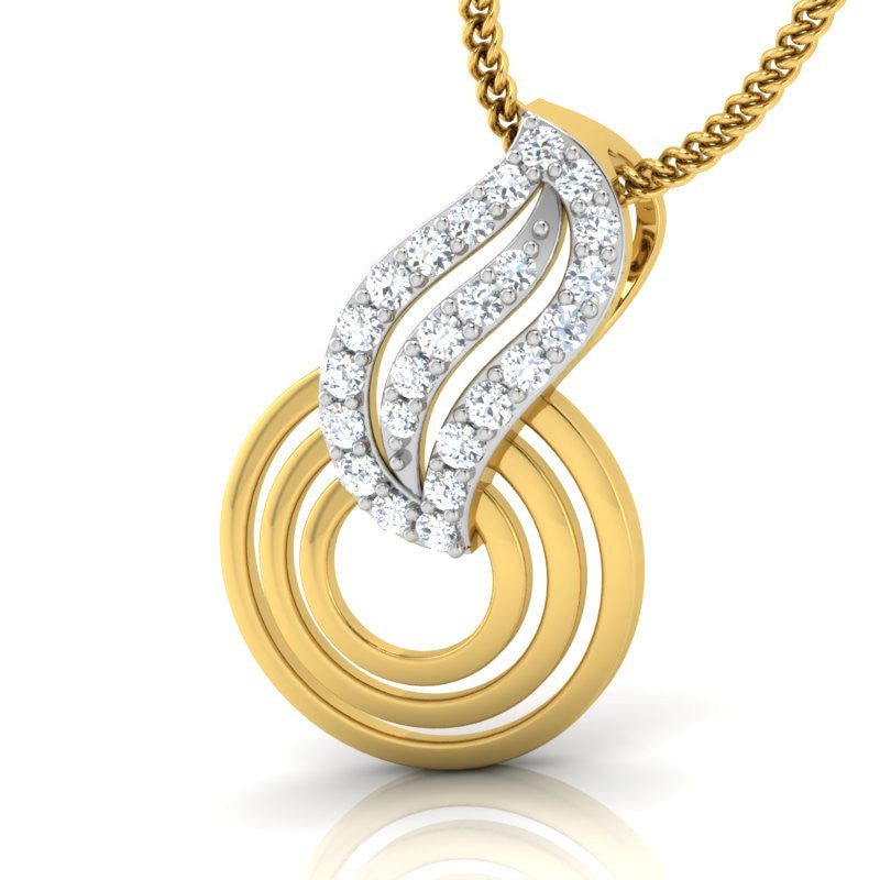 diamond studded gold jewellery - Shakila Fashion Pendant - Pristine Fire - 1