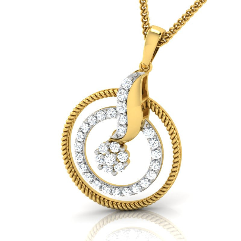 diamond studded gold jewellery - Maija Fashion Pendant - Pristine Fire - 1