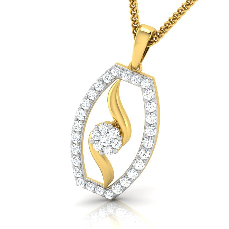 diamond studded gold jewellery - Gayle Casual Pendant - Pristine Fire - 1