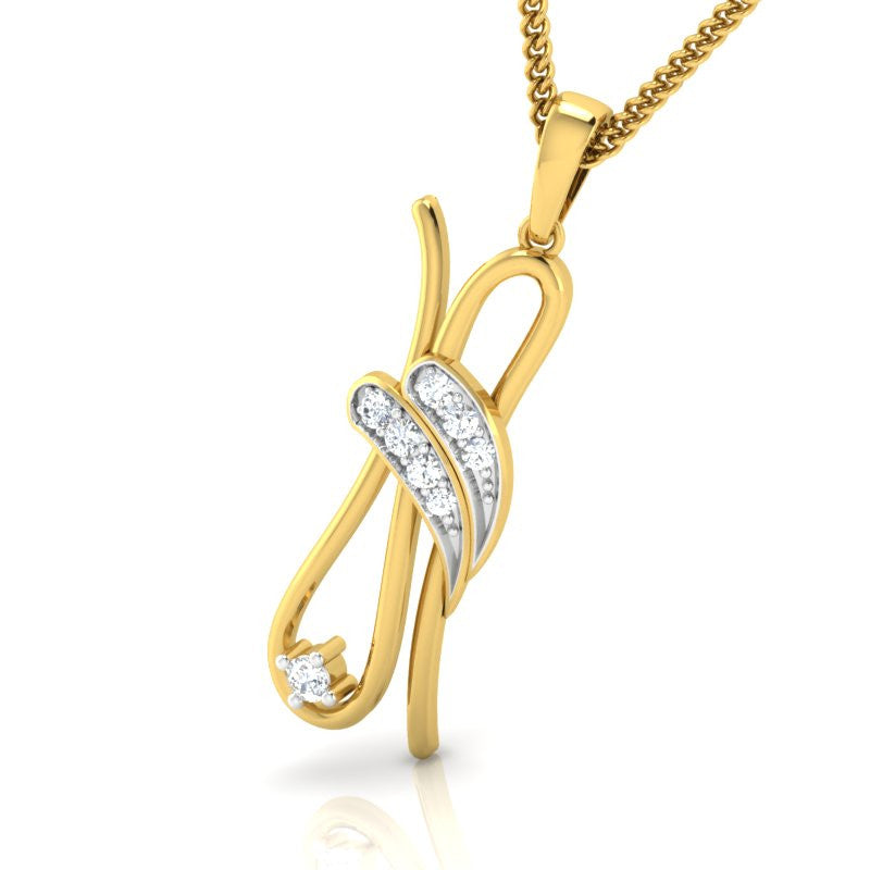 diamond studded gold jewellery - Thamara Fashion Pendant - Pristine Fire - 1