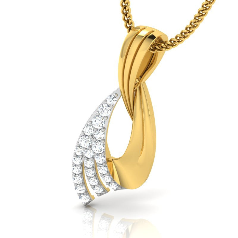 diamond studded gold jewellery - Ayako Fashion Pendant - Pristine Fire - 1