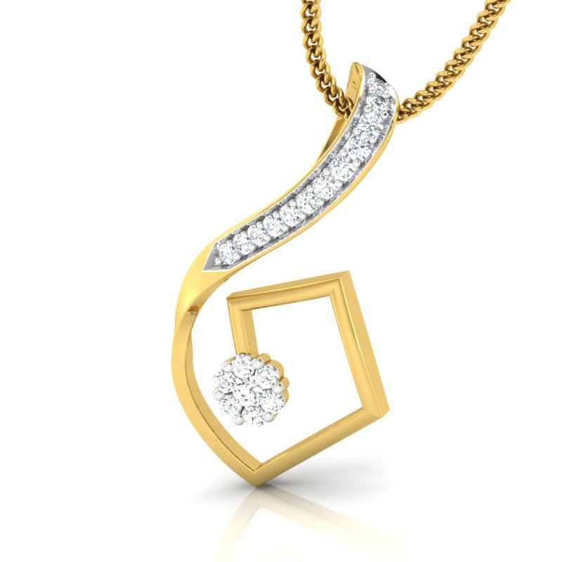 diamond studded gold jewellery - Morgane Fashion Pendant - Pristine Fire - 1