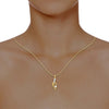diamond studded gold jewellery - Ly Casual Pendant - Pristine Fire - 4