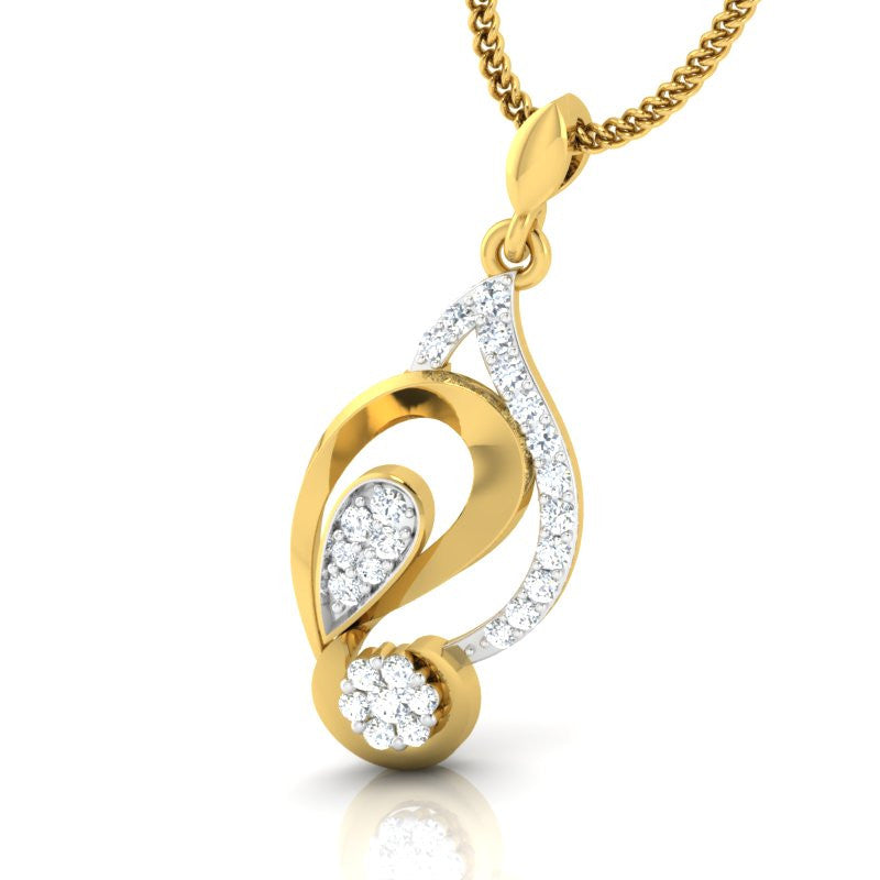 diamond studded gold jewellery - Callie Casual Pendant - Pristine Fire - 1