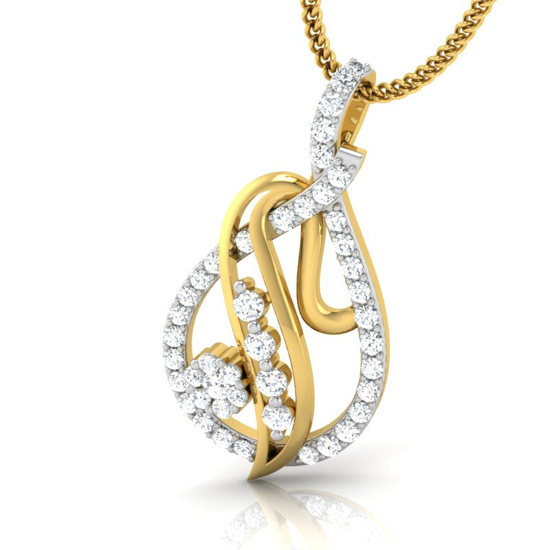 diamond studded gold jewellery - Angelle Fashion Pendant - Pristine Fire - 1