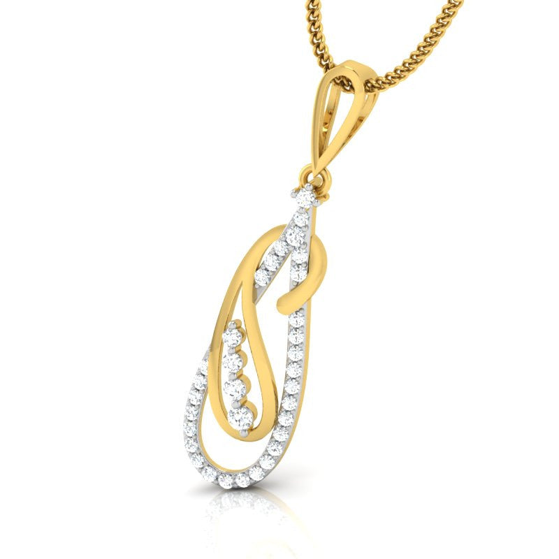 diamond studded gold jewellery - Jolanta Fashion Pendant - Pristine Fire - 1
