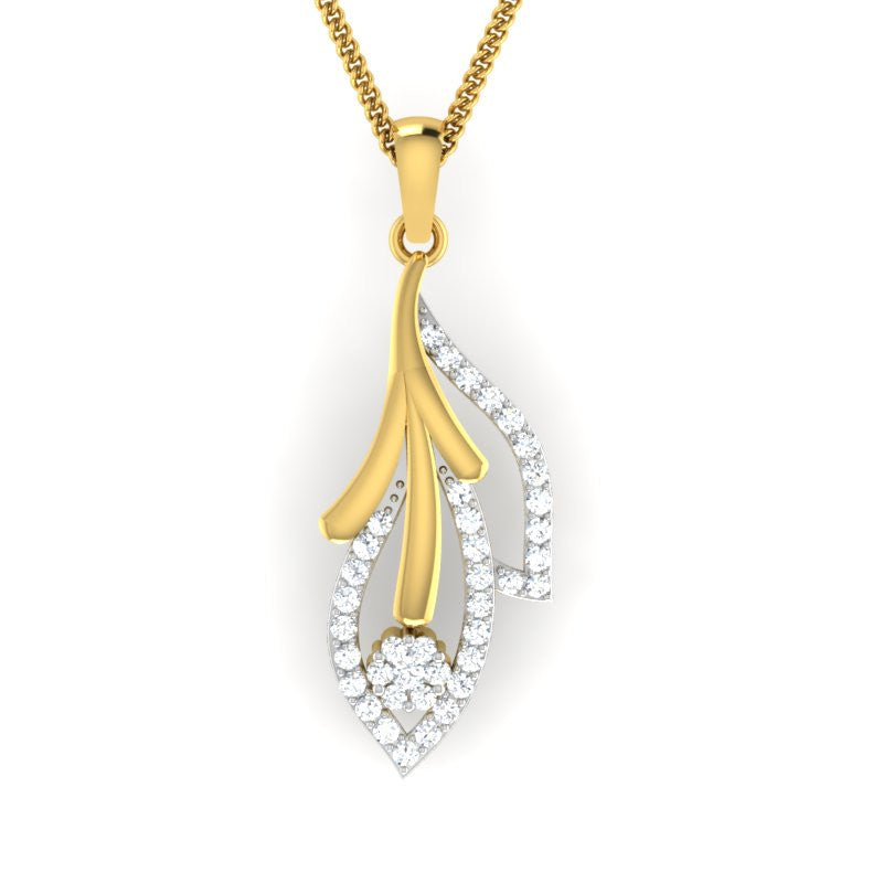 diamond studded gold jewellery - Donesha Fashion Pendant - Pristine Fire - 1