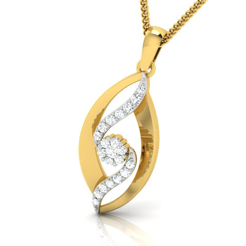 diamond studded gold jewellery - Raeanne Casual Pendant - Pristine Fire - 1