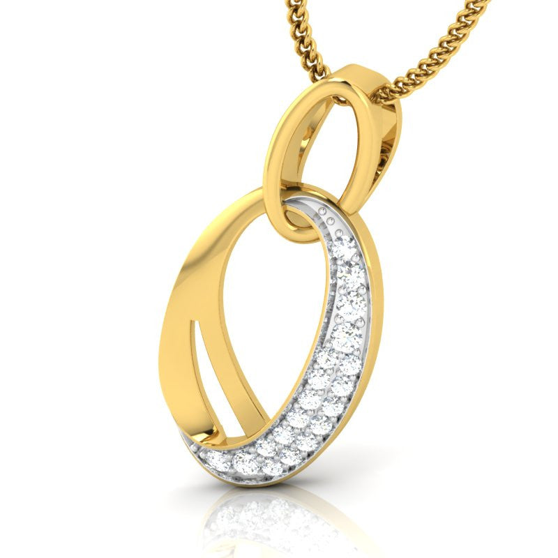 diamond studded gold jewellery - Canceta Fashion Pendant - Pristine Fire - 1