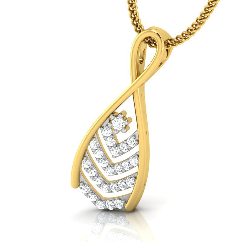 diamond studded gold jewellery - Raelene Casual Pendant - Pristine Fire - 1