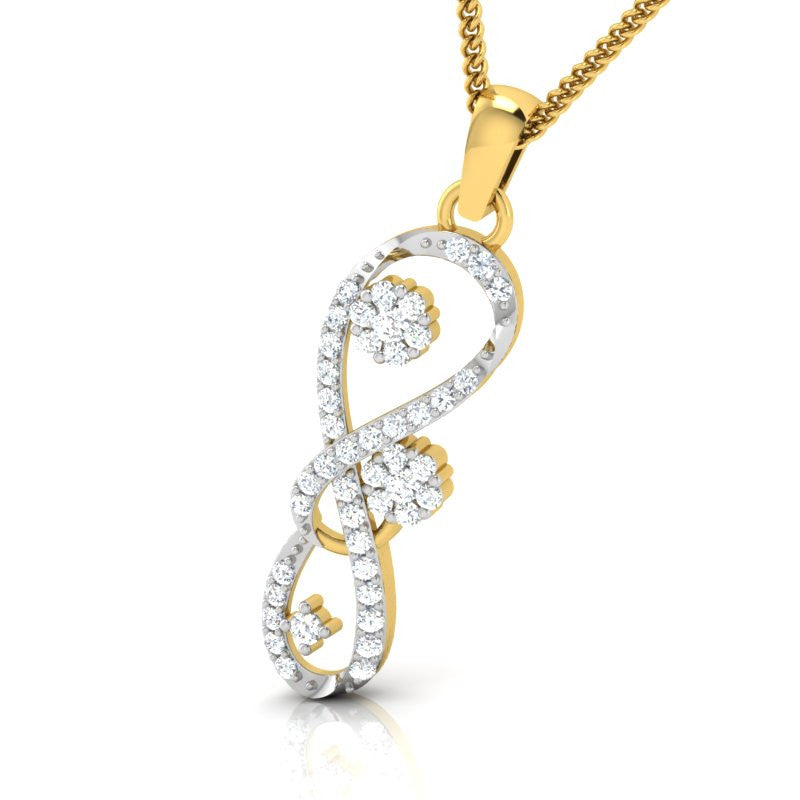diamond studded gold jewellery - Zanna Casual Pendant - Pristine Fire - 1