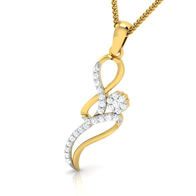 diamond studded gold jewellery - Indira Casual Pendant - Pristine Fire - 1