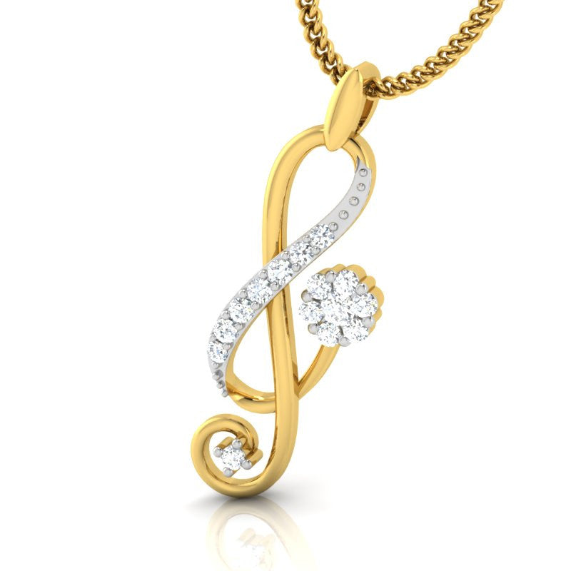 diamond studded gold jewellery - Agnes Casual Pendant - Pristine Fire - 1