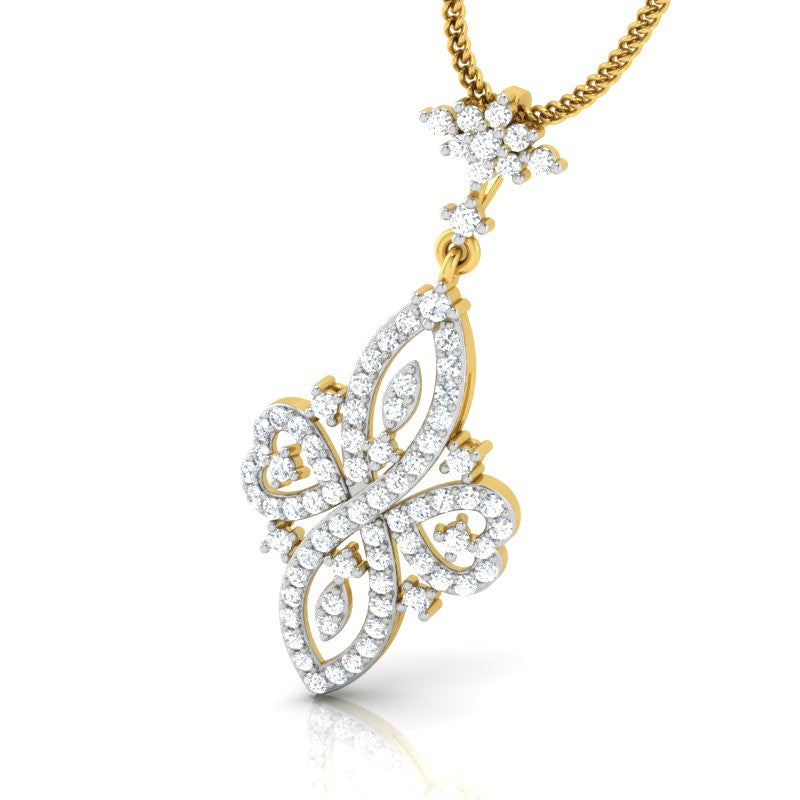diamond studded gold jewellery - Evline Fashion Pendant - Pristine Fire - 1