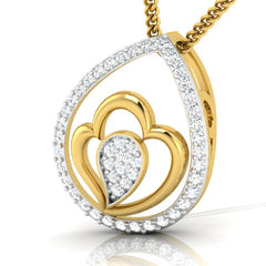 diamond studded gold jewellery - Kenenza Fashion Pendant - Pristine Fire - 1