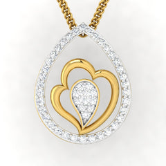 diamond studded gold jewellery - Kenenza Fashion Pendant - Pristine Fire - 2