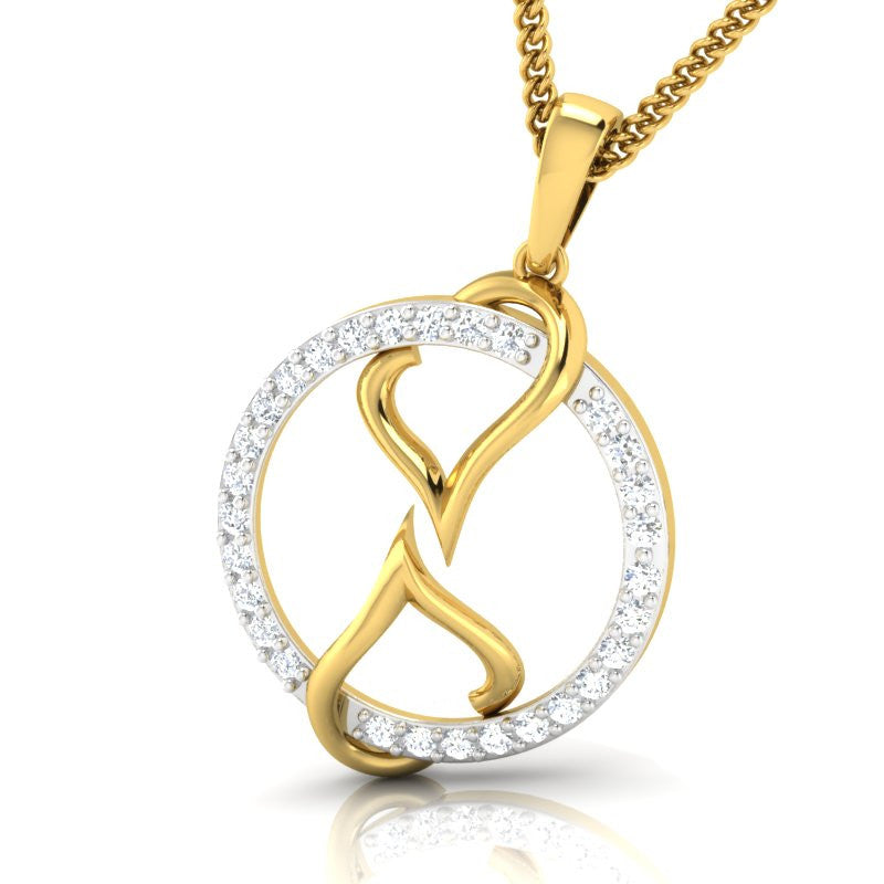 diamond studded gold jewellery - Catelynn Fashion Pendant - Pristine Fire - 1