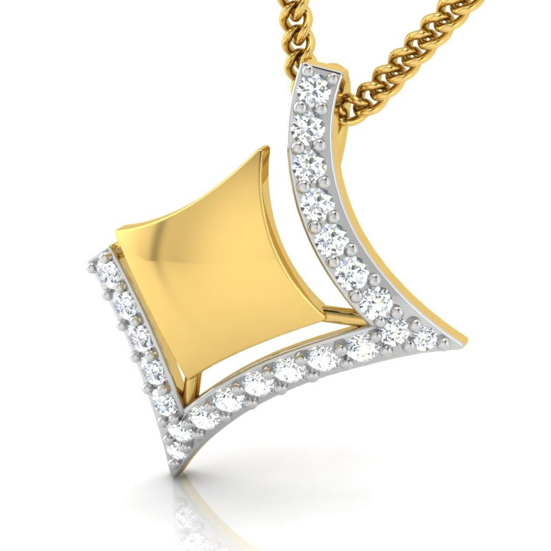diamond studded gold jewellery - Karisa Fashion Pendant - Pristine Fire - 1