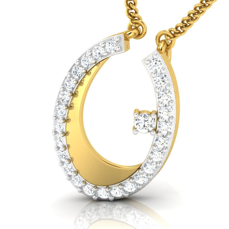 diamond studded gold jewellery - Kamea Fashion Pendant - Pristine Fire - 1