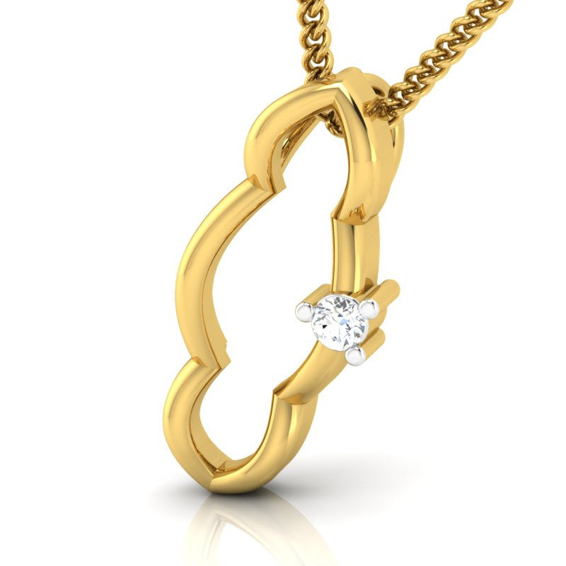 diamond studded gold jewellery - Shaye Casual Pendant - Pristine Fire - 1