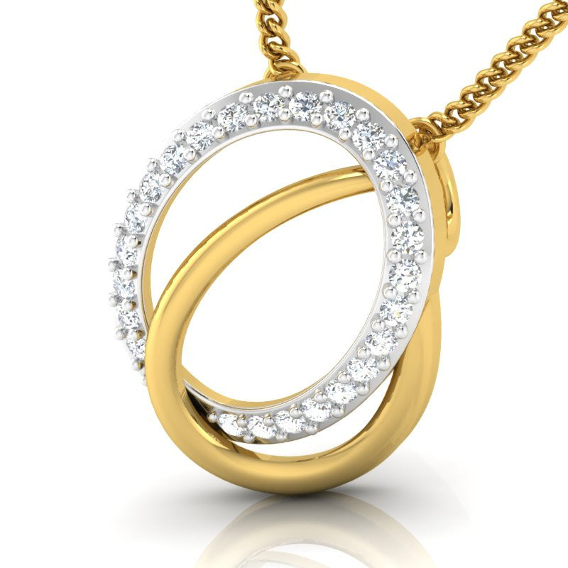 diamond studded gold jewellery - Sydnee Casual Pendant - Pristine Fire - 1