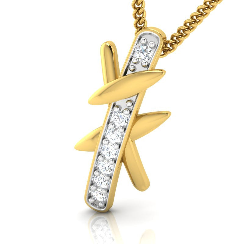 diamond studded gold jewellery - Djanira Casual Pendant - Pristine Fire - 1