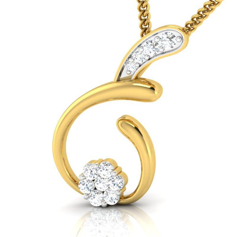 diamond studded gold jewellery - Aimee Casual Pendant - Pristine Fire - 1