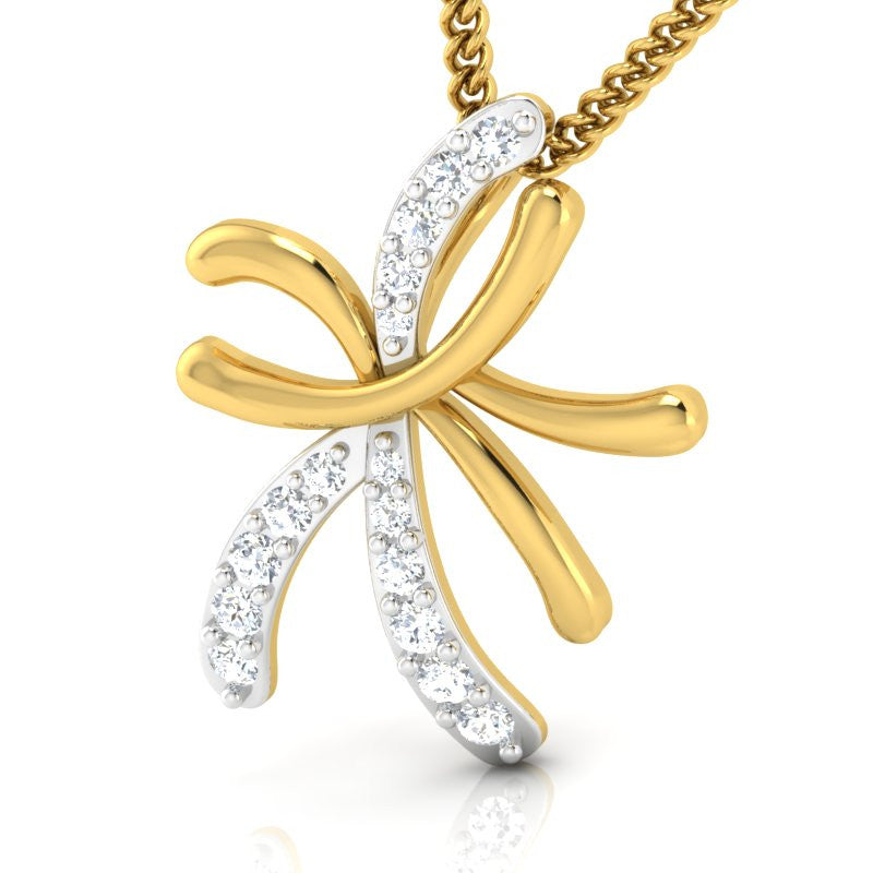 diamond studded gold jewellery - Ma Kayla Casual Pendant - Pristine Fire - 1