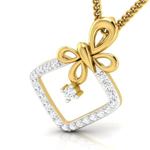 diamond studded gold jewellery - Malvina Fashion Pendant - Pristine Fire - 1