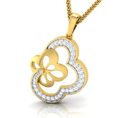 diamond studded gold jewellery - Takeisha Fashion Pendant - Pristine Fire - 1