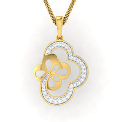 diamond studded gold jewellery - Takeisha Fashion Pendant - Pristine Fire - 2