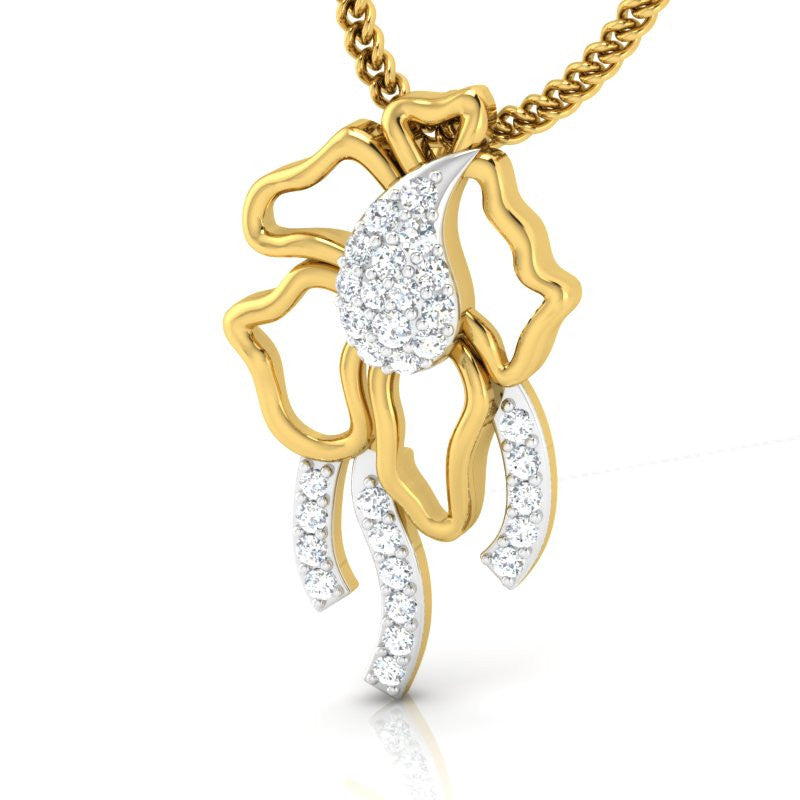 diamond studded gold jewellery - Servia Fashion Pendant - Pristine Fire - 1