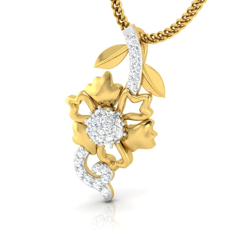 diamond studded gold jewellery - Bibi Casual Pendant - Pristine Fire - 1