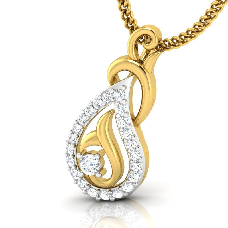 diamond studded gold jewellery - Colette Casual Pendant - Pristine Fire - 1