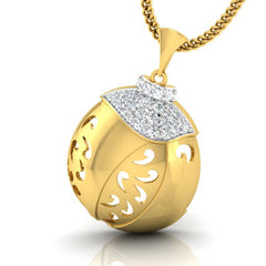 diamond studded gold jewellery - Roshawna Fashion Pendant - Pristine Fire - 1