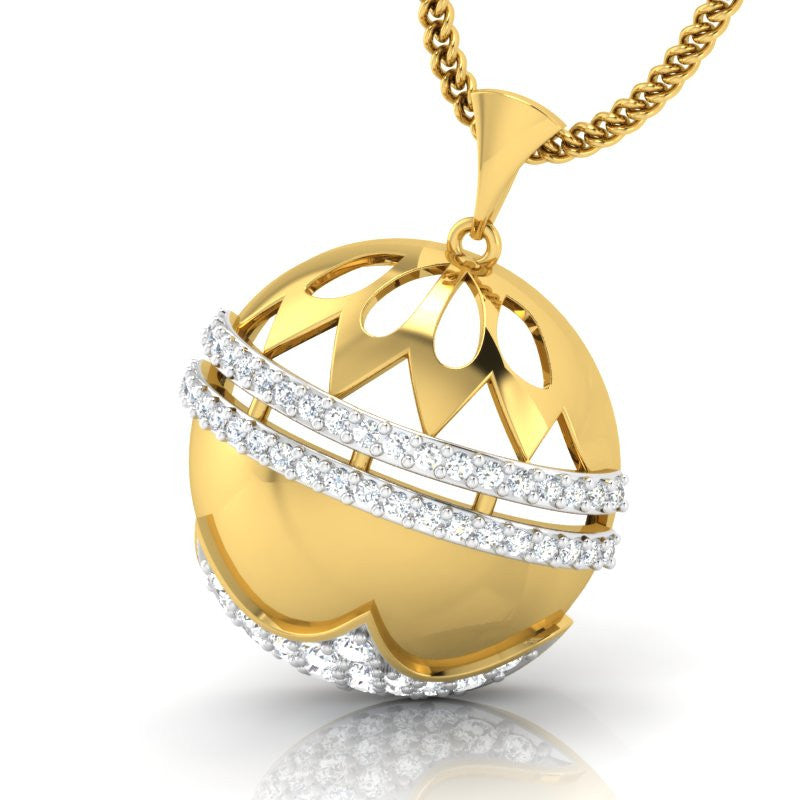 diamond studded gold jewellery - Ruthann Fashion Pendant - Pristine Fire - 1