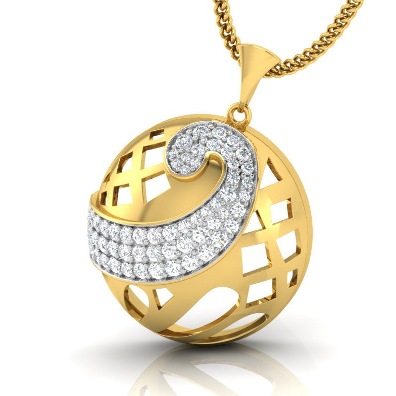 diamond studded gold jewellery - Sinya Fashion Pendant - Pristine Fire - 1