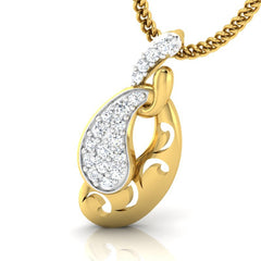 diamond studded gold jewellery - Lacey Casual Pendant - Pristine Fire - 1